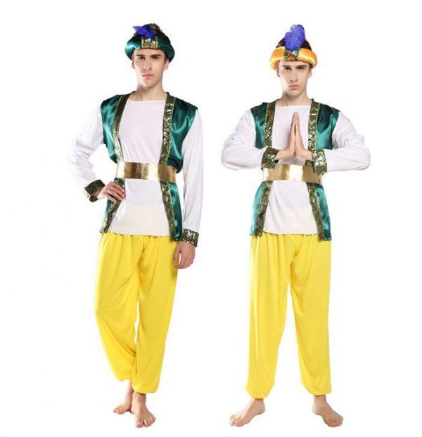 Trang phục Ấn Độ nam xanh lá vàng