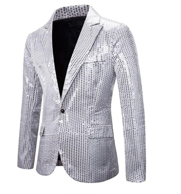 Vest kim sa sequin bạc