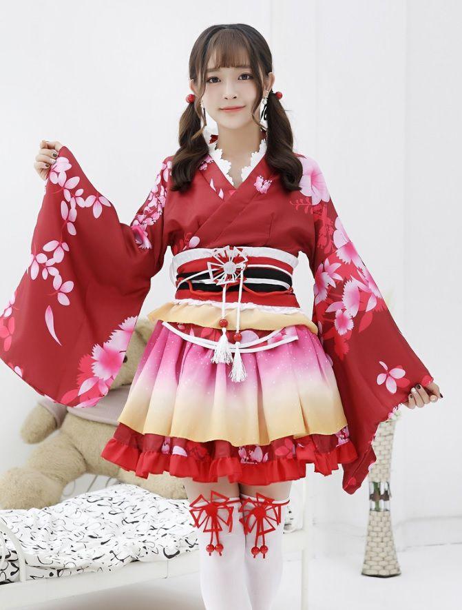 bán cho thuê đồ cổ trang Kimono đỏ ngắn cosplay lolita