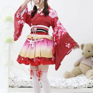 Kimono đỏ ngắn cosplay lolita