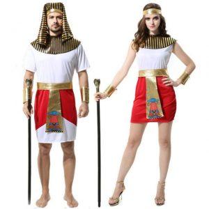 Trang phục Pharaon Ai Cập đỏ trắng